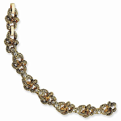 Jacqueline Kennedy Gold-plated Swar Crystal Antiqued 7.5In with 1in ext Lion Bracelet One Size