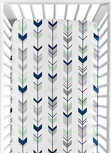 Sweet Jojo Designs Fitted Crib Sheet for Grey, Navy Blue and Mint Woodland Arrow Baby/Toddler Bedding Set Collection - Arrow Print