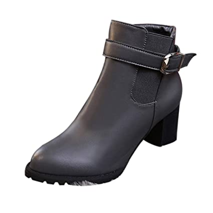 4aa299ac0baec Amazon.com: Women Winter Ankle Boots Side Zipper Casual Vintage High ...