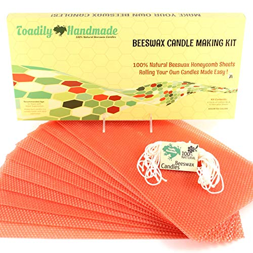 Make Your Own Beeswax Candle Kit - Includes 10 Full Size 100% Beeswax Honeycomb Sheets in Terracotta and Approx. 6 Yards (18 Feet) of Cotton Wick. Each Beeswax Sheet Measures Approx. 8