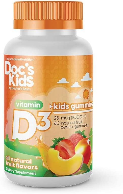 Doc's Kids by Doctor's Best Children's Vitamin D3 Gummies 1000iu, Natural Fruit Pectin Gummies, for Immune Health and Strong Bones, Strawberry, Peach and Mango, 60 Count