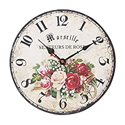 SkyNature Romantic French Style Wooden Wall Clock Silent Non-Ticking (12 inch, Rose)