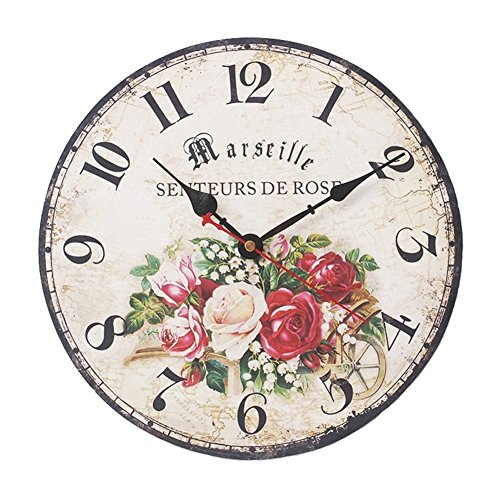 Above Antique Style Clock (SkyNature Romantic French Style Wooden Wall Clock Silent Non-Ticking (12 inch,)