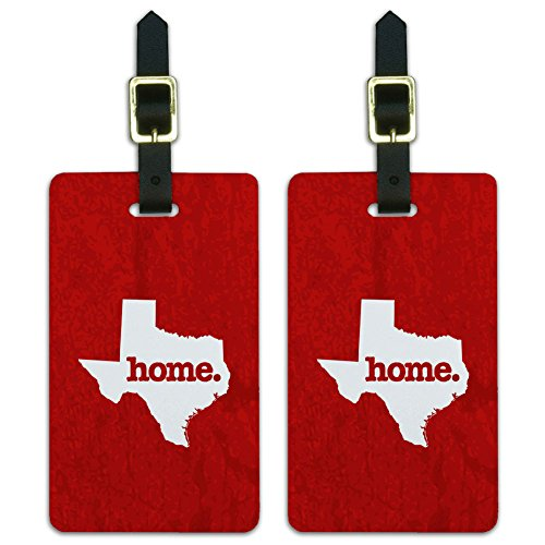 (Graphics & More Texas Tx Home State Luggage Suitcase Id Tags-Textured Red, White)