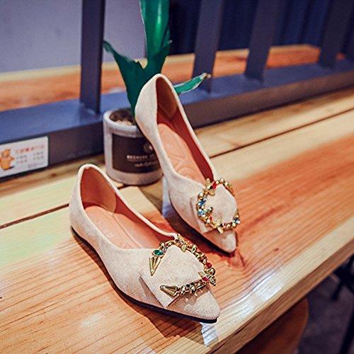 zapatos zapatos GAOLIXIA mujer Retro remache plana señaló zapatos de boca beige Flower tacón de Primavera metálica hebilla otoño planos plano de nuevos imitación de diamantes y de redonda de buckle estudiante qtp6twS