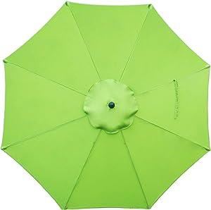 Sunnyglade 9ft Patio Umbrella Replacement Canopy Market Umbrella Top Outdoor Umbrella Canopy with 8 Ribs (Grass Green)