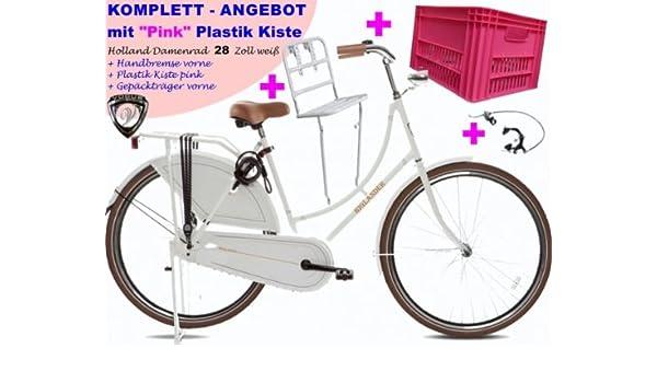 Bicicleta holandesa para mujer 71,12 cm blanco + rosa accesorios ...