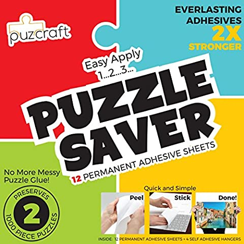 Puzzle Saver Adhesive Sheets (12-Pack) Easiest Alternative To Messy Puzzle Glue (Mod Podge Accessories)