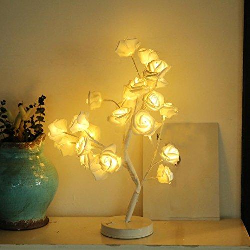 Dreamyth 0.52m/ 0.50m 48/24 LED Plum Blossom/Rose/Cotton Ball Desk Top Bonsai Tree Light (White Rose) by Dreamyth