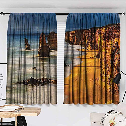 Paddy Benedict Blackout Curtains for Bedroom,W72 x L63,for Bedroom&Kitchen&Living Room Seaside Decor Collection,Twelve Apostles Australia Sunset Great Ocean Road Coast Cliff by Sea Picture,Gold Navy (Australia Furniture Bamboo Outdoor)