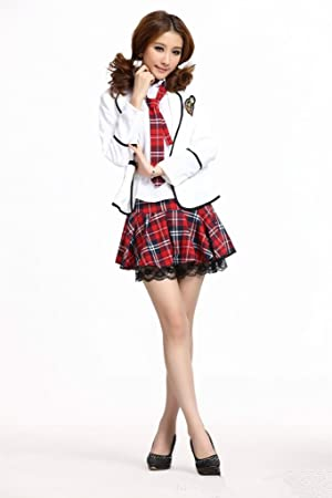 Girls Ladies England School Uniform Halloween Cosplay Costume  White Jacket  + Red Skirt + Shirt + Red Tie) 253ed889a