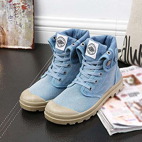 Top Lace Cuffs Soled Casual Boat Sports Canvas Blue Shoes FALAIDUO Women's Hiking Outdoor Thick Shoes Shoes Boots Combat Shoes Up High wqp04tz4FX