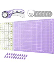 Rotary Cutter Set - Quilting Kit incl. 45mm Fabric Cutter, 5 Replacement Blades, A3 Cutting Mat, Acrylic Ruler 18x7 inches and 20pcs Craft Clips - Ideal for Crafting, Sewing, Patchworking, Crochet & Knitting