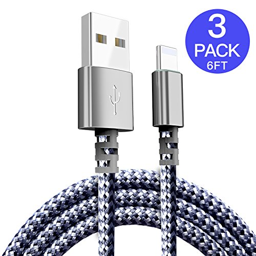 Atizzy Lightning Cable, 3 PACK 6 FT Nylon Braided Charging Cable Cord Lightning to USB Cable Charger Compatible with iPhone X/8/7/6S/6/Plus/5 SE/5S/5C/5/iPad/iPod and More(Black) Dual Ipod Interface Cable