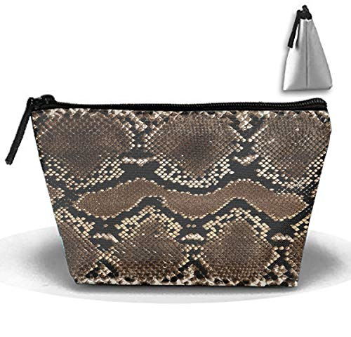 - Snake Skin Print Travel Cosmetic Bag Portable Makeup Pouch Trapezoidal Pencil Holders