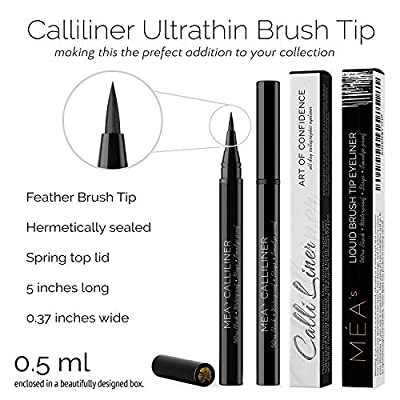 Waterproof Liquid Eyeliner by Mea a Semi Permanent Ultra Black Eye Liner withPrestige All Day Stay Brush giving you that Wild & Intense Covergirl Beauty - Glossy Matt Feather Tip