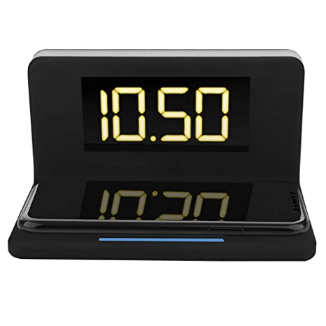 ASHATA Reloj de Despertador Digital LED con Plataforma de Cargador Inalámbrico Rápido 10W para Teléfono Móvil