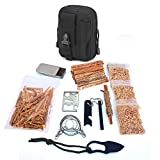 Kaeser Wilderness Supply Survival FIre Starting Molle Bag Fatwood Ferro Rod Emergency Camping Hiking Fishing Bushcraft Oultdoorsman (Black)