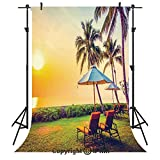 Seaside Photography Backdrops,Empty Umbrella and Chairs on The Beach Palm Trees at Twilight Times Vacation Theme,Birthday Party Seamless Photo Studio Booth Background Banner 10x20ft,Multicolor