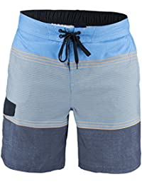 Matereek Men's Shorts Stripe Effect Swimwear Swim Trunks Aqua