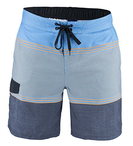 Matereek Men's Shorts Stripe Effect Sweamwear Swim Trunks Aqua Grey S