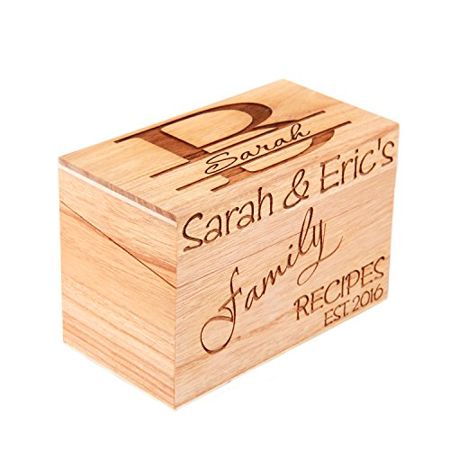 - Lgu(TM Monogrammed Personalized Custom Family Recipe Box Wood Box