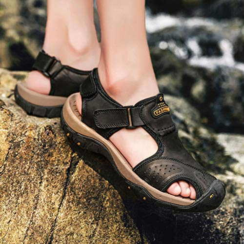 Summer Men's Sandals,Mens Fashion Leather Hiking Shoes Flats Slippers Beach Water Shoes Sport Sandals by Tronet Sandals (Image #3)
