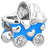 CharmsStory Blue Boy Baby CZ Crystal Carriage Bead Charms For Bracelets