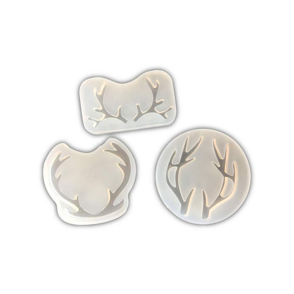 Lovely Antlers Necklace Pendant Epoxy Resin Silicone Mold,Crafting Clay,Jewelry Earrings Making,DIY Mobile Phone Decoration Tools,Semi-Transparent ZHONGYI