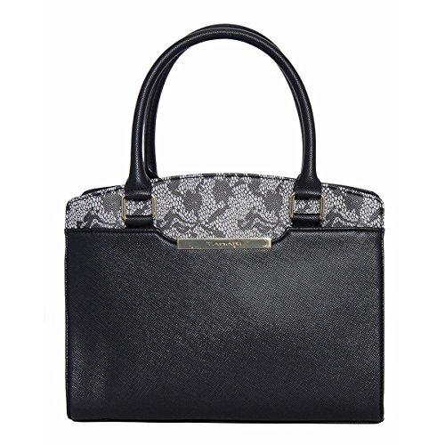 Tahari Womens Lacey Faux Leather Printed Satchel Handbag Black Medium