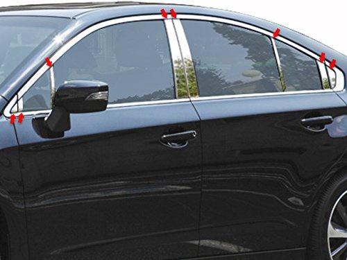 QAA FITS LEGACY 2015-2018 SUBARU (16 Pc: Stainless Steel Pillar Post Trim Kit, 4-door) PP15444 (Chrome Legacy Subaru Trim)