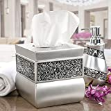 Creative Scents Tissue Box Cover Square, Decorative Tissue Box Holder is Finished in Beautiful Silver Mosaic Glass, Brushed Nickel Collection, Bathroom Accessories