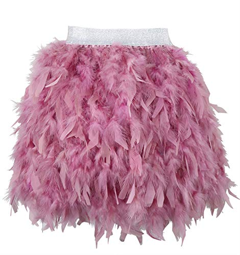 (L'VOW Women's Sexy Mid Waist Mini A-line Feather Skirt for Party Wedding Halloween (Dusty Pink,)