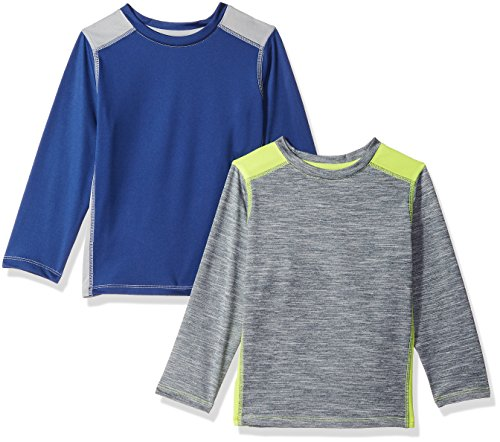 Amazon Essentials Toddler Boys' 2-Pack Long-Sleeve Pieced Active Tee, Navy/Grey/Grey/Lime, 2T