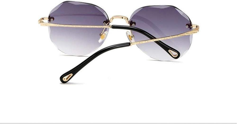 SHENY Occhiali da Sole per Donna Ovale Senza Montatura in Lega Nuovo Telaio da Taglio Occhiali da Sole Trasparenti Grandient Shades Occhiali da Vista per Rivetti grigio oro