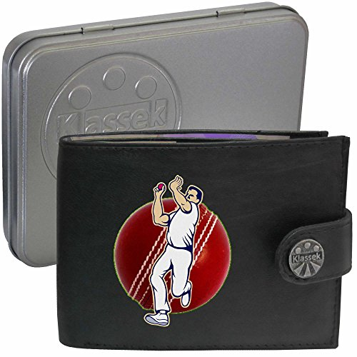 Cricketer Bowler Red Cricket Ball Kricketspieler Klassek Herren Geldbörse Portemonnaie Brieftasche aus echtem Leder schwarz Geschenk Präsent mit Metall Box