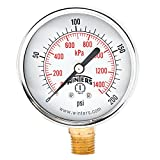 Winters PEM Series Steel Dual Scale Economical All Purpose Pressure Gauge with Brass Internals, 0-200 psi/kpa, 2-1/2'' Dial Display, -3-2-3% Accuracy, 1/4'' NPT Bottom Mount