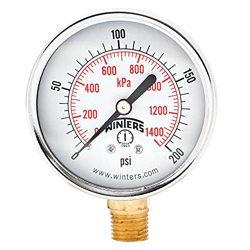Winters PEM Series Steel Dual Scale Economical All Purpose Pressure Gauge with Brass Internals, 0-200 psi/kpa, 2-1/2'' Dial Display, -3-2-3% Accuracy, 1/4'' NPT Bottom Mount by Winters Instruments