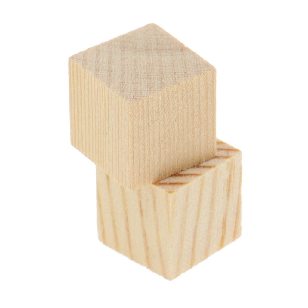 Flameer 3 Pieces 35mm Natural Wood Cube Blocks Unfinished Wooden Cubes for Hobbies Model Making Craft