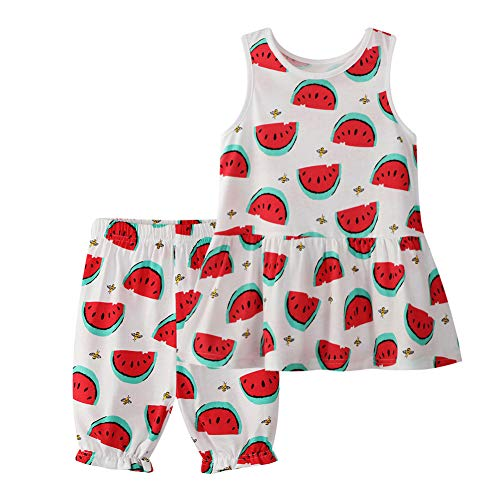 - Little Girl Summer Outfits Set Casual Cotton Short Sleeve Watermelon Tee Pants Suit