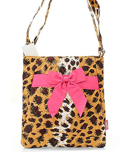 Wholesale Designer Inspired Handbags - Leopard Print Quilted Cross Body Hipster Handbag with bow (Pink)
