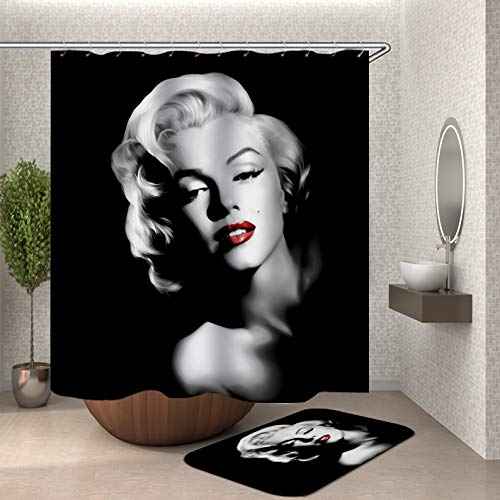 Marilyn Suit - DMTTY Marilyn Monroe Shower Curtain Set, Black and White Art Goddess Bath Rugs Shower Curtain Set 69X70inch Polyester Fabric Shower Curtain Suit with 15.7x23.6in Flannel Non-Slip Bath Rugs