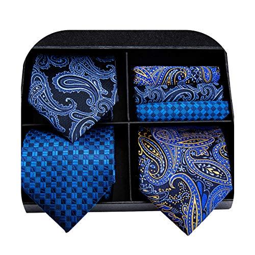 3/5 Pcs Mens Tie Set, Hi-Tie Mens Silk Tie Pocket Square and Cufflinks Set