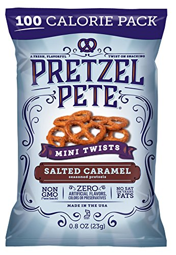 Pretzel Pete Seasoned Mini Twist Pretzels, Salted Caramel, 0.8 Oz (Pack of 24) -