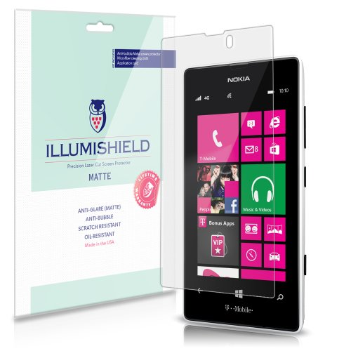 iLLumiShield Matte Screen Protector Compatible with Nokia Lumia 521 (3-Pack) Anti-Glare Shield Anti-Bubble and Anti-Fingerprint PET Film (Nokia 521 Screen Replacement)