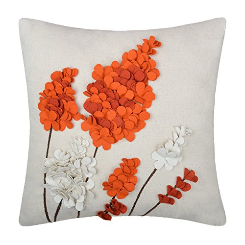 Art Deco Living Room Chair (JW Floral Accent Pillow Cases 3D Lavender Flowers Handmade Wool Linen Cushion Covers for Home Sofa Car Bed Room Office Chair Decor Pillowcases 18 x 18 Inch Orange)