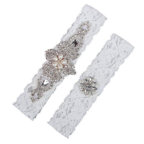 HETOINY 2 Pieces Lace Wedding Bridal Garter Set Handmade Flower Rhinestones Pearls Vintage Bridal Leg Garters - M by HETOINY