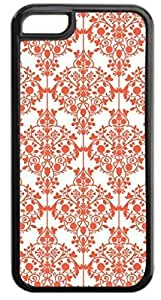 04-Floral Damask Pattern- Case for the APPLE IPHONE 5c ONLY-Hard Black Plastic Outer Case WANGJING JINDA