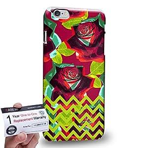 "Case88 [Apple iPhone 6 / 6s Plus (5.5"")] 3D impresa Carcasa/Funda dura para & Tarjeta de garantía - Art Drawing Fashion Floral Chevron D"