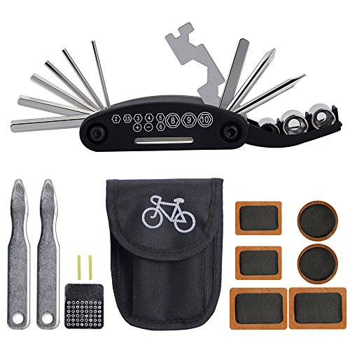 BUZIFU Bicycle Repair Tool Multifunction 16 in 1 Puncture Kit Bicycle Tire Repair Set, Multi-Tool Bicycle with Tire Lever, Bicycle Patches for All
